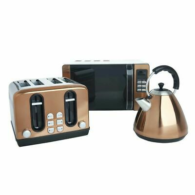 Rose Gold Copper Set Microwave Pyramid Kettle 4 Slice Toaster Kitchen Appliance