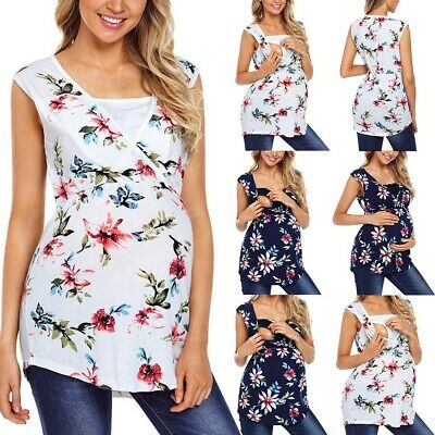 Fashion Women Maternity Sleeveless Floral Tops Nursing Baby Blouse Clothes Shirt