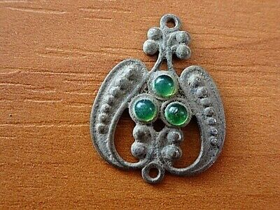 """Ancient Medieval Bronze Medallion """"Heart"""" with Green Stones Very Rare"""