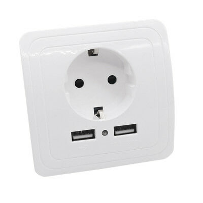Durable Dual USB German Standard Arching Plug Switch Power Outlet Wall Socket