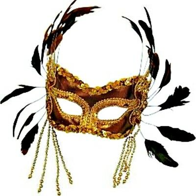 Gold Velvet Masquerade Mask with Feathers - Carnival Fancy Dress Ball