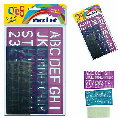 3Pc SMALL-LARGE STENCIL SET Alphabet Letters/Numbers/Symbols Fun Kids Learning