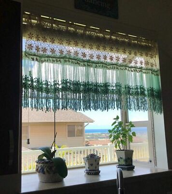 Shabby~Beige Crochet Lace&Dusty Green Fringed Tulle Lace Cafe Curtain/Valance~