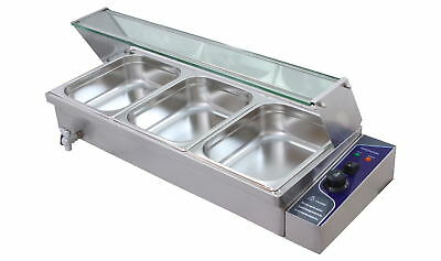 New 3 X 1/2' Pan Stainless Steel Electic Bain Marie Trays+Polycarb Cover Stock