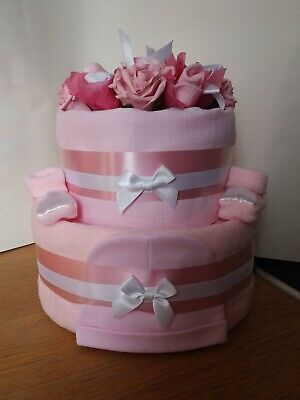 2 Tier Nappy Cake with sock rose flower topper