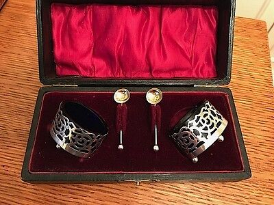 Antique English hallmarked silver condiment set with spoons. Boxed.