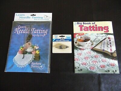 Needle Tatting Learning Instruction Books with Needle, Metal Shuttle