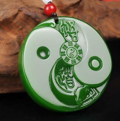 Natural Green Jade Pendant Necklace China Fengshui The Gossip Statue Amulet