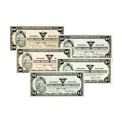 Set of 5 diff. Canada Canadian Tire scrip nice circ