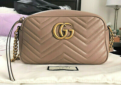 aa0dfd53199901 Authentic GUCCI GG MARMONT Matelasse Small Shoulder Bag Dusty Pink Nude EUC