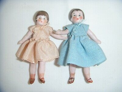 TWO SWEET ANTIQUE/VINTAGE ALL BISQUE DOLLS HOUSE  DOLLS, c1920