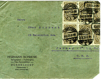 Dusseldorf Cover 18 double 1923 Inflation postage stamps front and back