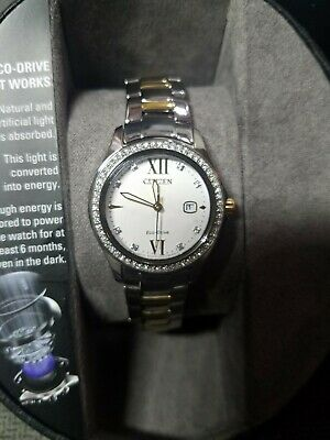NWT Citizen FE1144-85B Women's Eco-Drive Crystal Accented Bezel Two Tone Watch