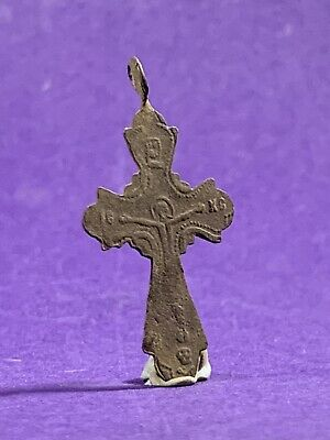 Very Nice Post Medieval Bronze Crucifix Christian Cross Amulet Wearable