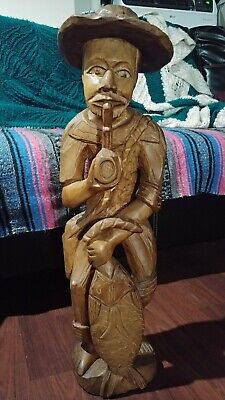 Antique Hand Carved Statue - Man Smoking Pipe With Fish