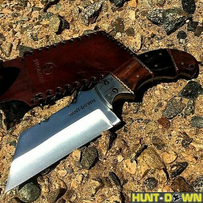 "9"" Hunting Knife Survival Full Tang Fixed Blade Blade Wood Handle W/ Sheath"