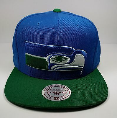 Mitchell   Ness NFL Seattle SeaHawks 2 Tone Big Logo Team Retro Snapback  Cap Hat 43658600a
