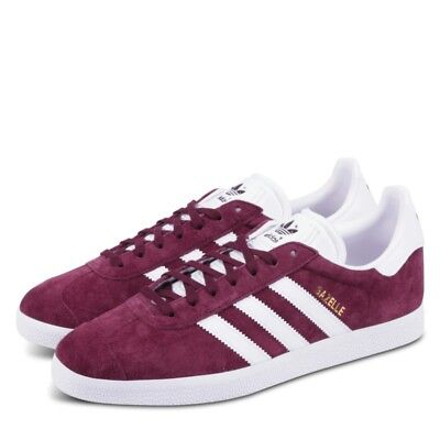newest a6f94 337a6 Adidas Originals Gazelle Maroon Burgundy Red White GOLD Suede Shoes BB5255  Sz 12