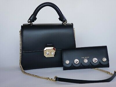 090a2295b NWT TED BAKER Crystal   Pearl Leather Verina Shoulder Bag and Scallop Wallet