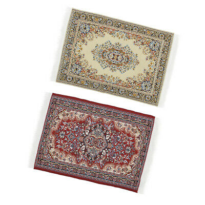 Miniature Floor Covering Turkish Style Rug Carpet for 1/12 Dolls House 2 pcs