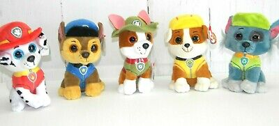 Ty Beanie Baby Boos Paw Patrol Marshal chase Rocky Tracker Rubble set of 5  plush 54a26ed8a60c