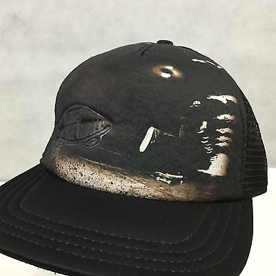 f9ea7390216 VANS OFF THE WALL Classic Patch Trucker Black on Black Skater Hat Cap  SnapBack