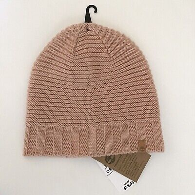 TIMBERLAND Authentic Womens Blush Pink Knit Beanie Winter Hat w Logo  Leather Tab 47f6adcfb66