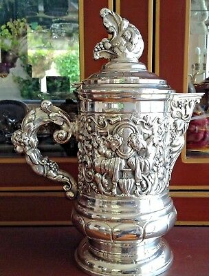 Antique Wonderful Sterling Silver Pitcher & Jug 940 Gr.!