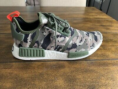 5e74627cfd866 Adidas NMD R1 Camo Pack G27914 Green Silver Red Boost Running Shoes Size 10