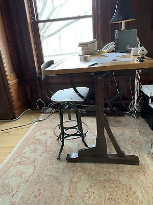 Restoration Hardware 1920s French Drafting Table And 1940S VINTAGE BAR Chair