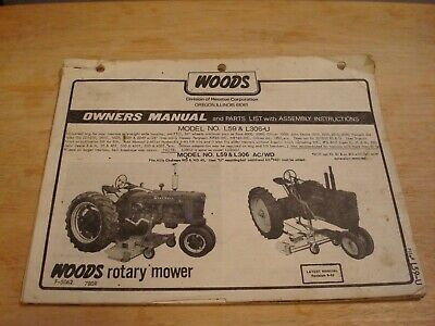 WOODS ROTARY MOWER L59 L306 U L306 Owner Operator S Manual AC WD