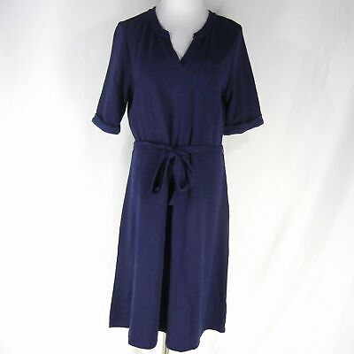 ba4da862fd LANDS' END French Terry Swim Cover Up Dress M 10 12 Navy Blue Belted Knit
