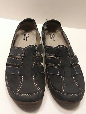 145ca60df01 Clarks Collection Cloud Steppers Sillian Stork Flats Slip On Navy Blue 9M  GUC
