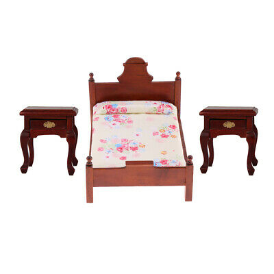 1/12 Dollhouse Miniature Furniture Toy - Vintage Single Bed & Bedside Table