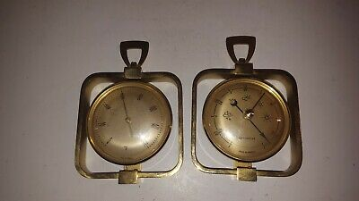 Vintage French Brass Barometer Thermometer France