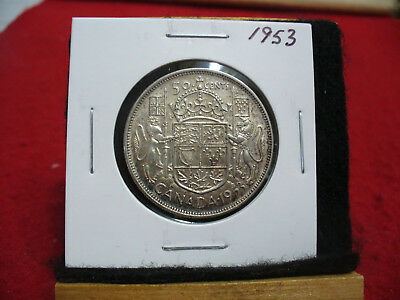 1953  Canada  Silver  Half  Dollar  50 Cent Piece   53   Good  Grade