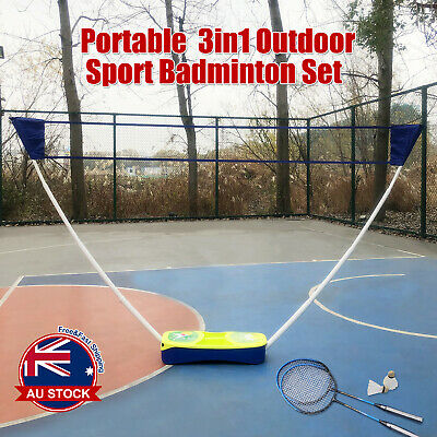3 in 1 Portable Badminton Tennis Volleyball Net Set Outdoor Backyards Sports O