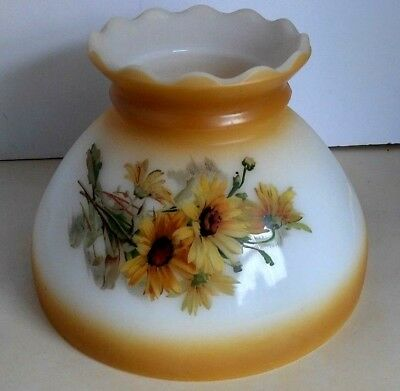 Vintage Milk Glass Lamp Shade Oil Hurricane GWTW Hand Painted Floral