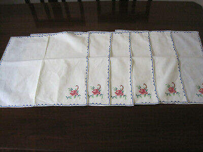 Set Of 12 Unused Pink Roses Cross Stitch Embroidery Table Napkins