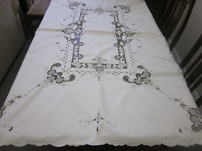 Beautiful Hand Worked Madeira Embroidered Tablecloth