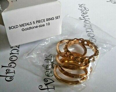 AVON Bold GOLDTONE Metals 5 piece Ring Set SIZE 10 New in Box Stackable