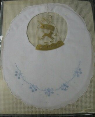 vintage Orem BABY BIB hand embroidered white lawn NEW old stock in BOX