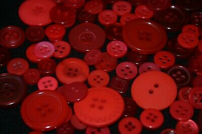 100 Red Resin Buttons - Sewing, Craft, Scrapbooking
