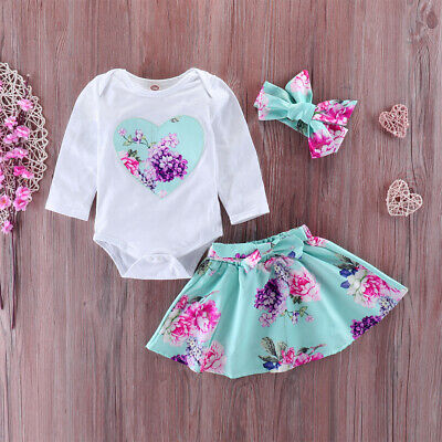 Newborn Baby Girl Floral Romper Bodysuit Tutu Skirt Headband Outfits Clothes Set