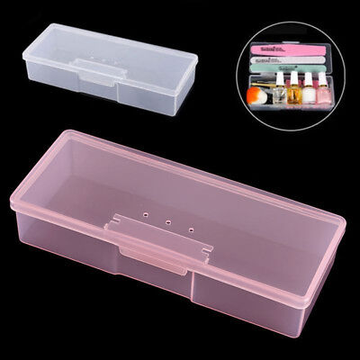 FT- Nail Art Manicure Tool Plastic Storage Box Case Brushes Container Holder Sol
