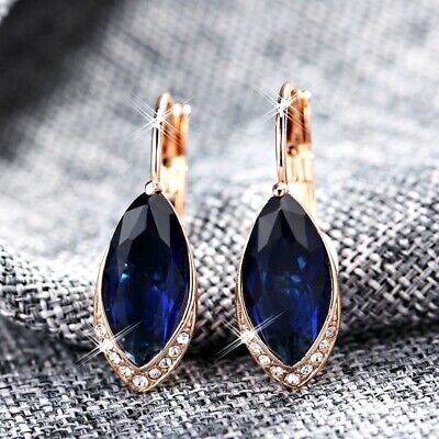 18K Rose Gold GF Made With SWAROVSKI Crystal Marquise-Cut Sapphire Hoop Earrings