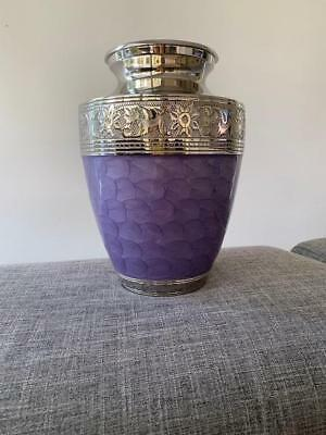 Adult Cremation Urn - Stunning Purple Pearl with Embroided Silver Trim