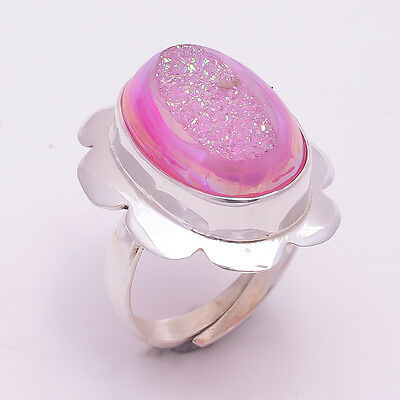 925 Solid Sterling Silver Adjustable Ring US Size7, Druzy Gemstone Jewelry CR975