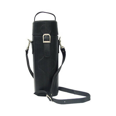 Piel Leather Unisex  Single Deluxe Wine Tote Carrier 2355 Black Leather Size