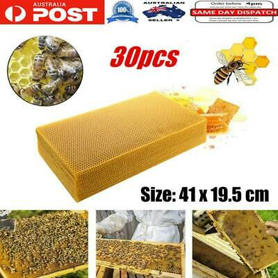 30x Honeycomb Wax Frames Beekeeping Foundation Honey Hive Equipment Tools OZ